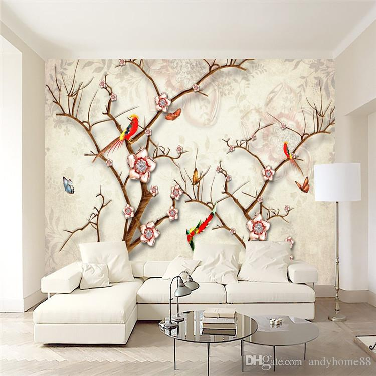 3d Tv Wall Wall Murals Modern Chinese Simple Flowers Bird Wallpaper