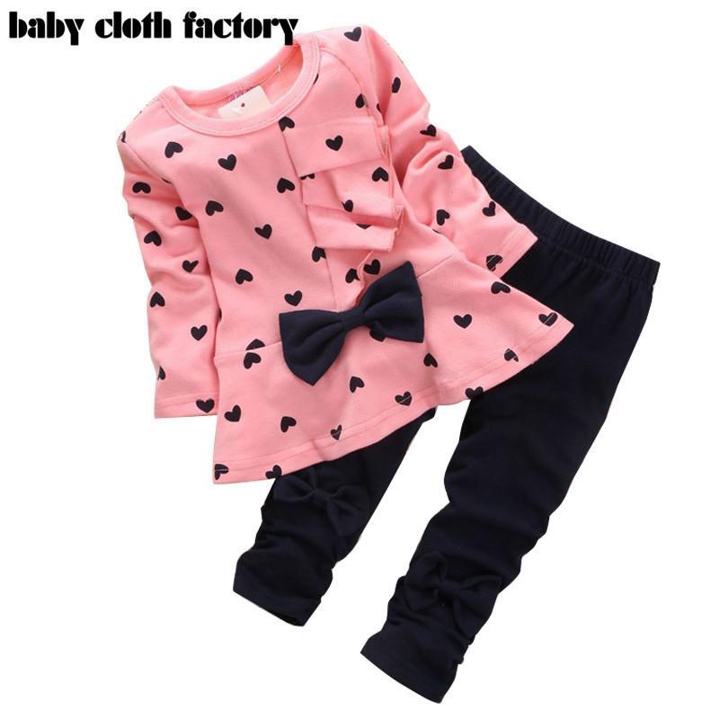 7ec656fec 2019 Wholesale 2016 New Baby Girl Clothing Set Heart Shaped Print ...
