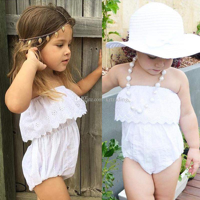 e60d3b197d Baby Girls Tube Top Lace Romper Embroidery Hollowed out White Lace Romper  Infants Beach Clothes Summer Outfits 4sizes for 1-4T Girls Hollowed out  Romper ...