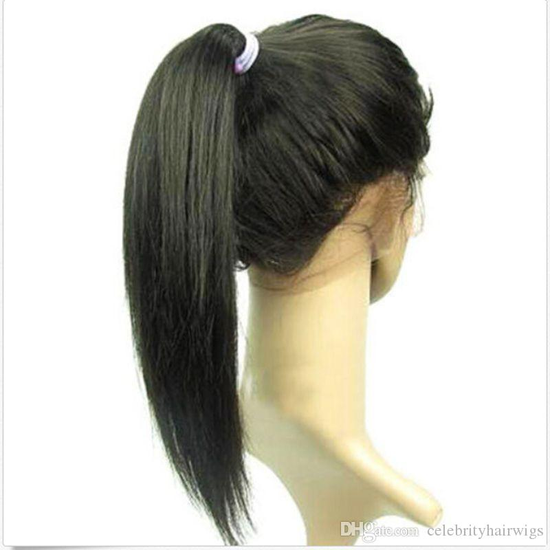 Lace Frontal Virgin Human Hair Brazilian Remy Hair Wigs With Baby Hair Full Lace Wig High Ponytails