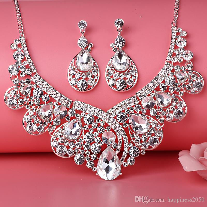 Beauty Silver Flower Pearls Bridal Necklace Tiara Earring Suits Jewelry Suits Wedding Bridal Jewelry P419004
