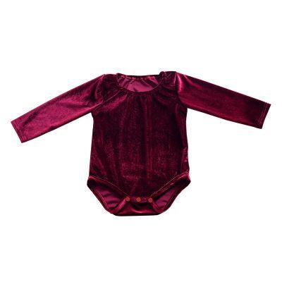 European Fashion 2017 Ins Hot Autumn 1-2-3T Baby Girls Long Sleeve Pleuche Romper Burgundy Bodysuit Playsuit