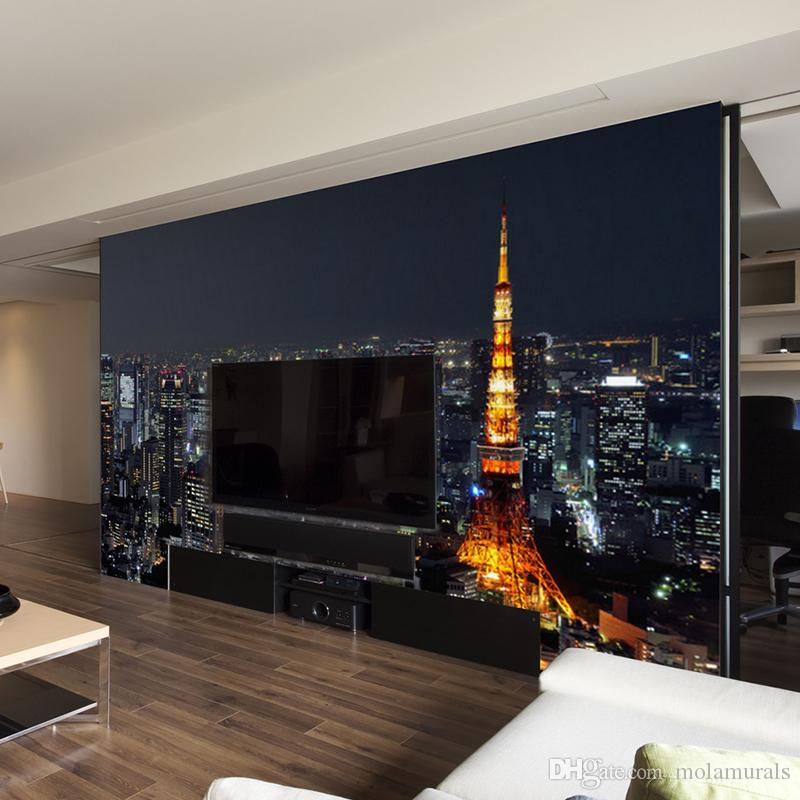 30 Modern Living Room Design Ideas To Upgrade Your Quality: Custom 3D Wall Mural Wallpaper City Night View Modern