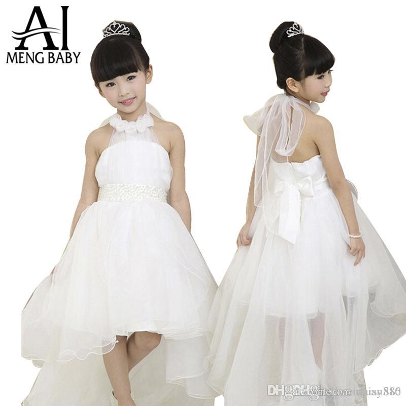 Flower Girl Dresses With Rise Appliques Sash Back With Bow White And Pageant Dresses For Girls Custom Made Flower Girl Dresses For Wedding