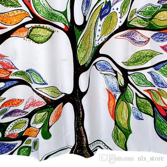 HappyTree Fabric Polyester Color Tree Waterproof Shower Curtain Thicken Shower Curtain Bathroom Multi-colour Curtain Shower size 180x200cm