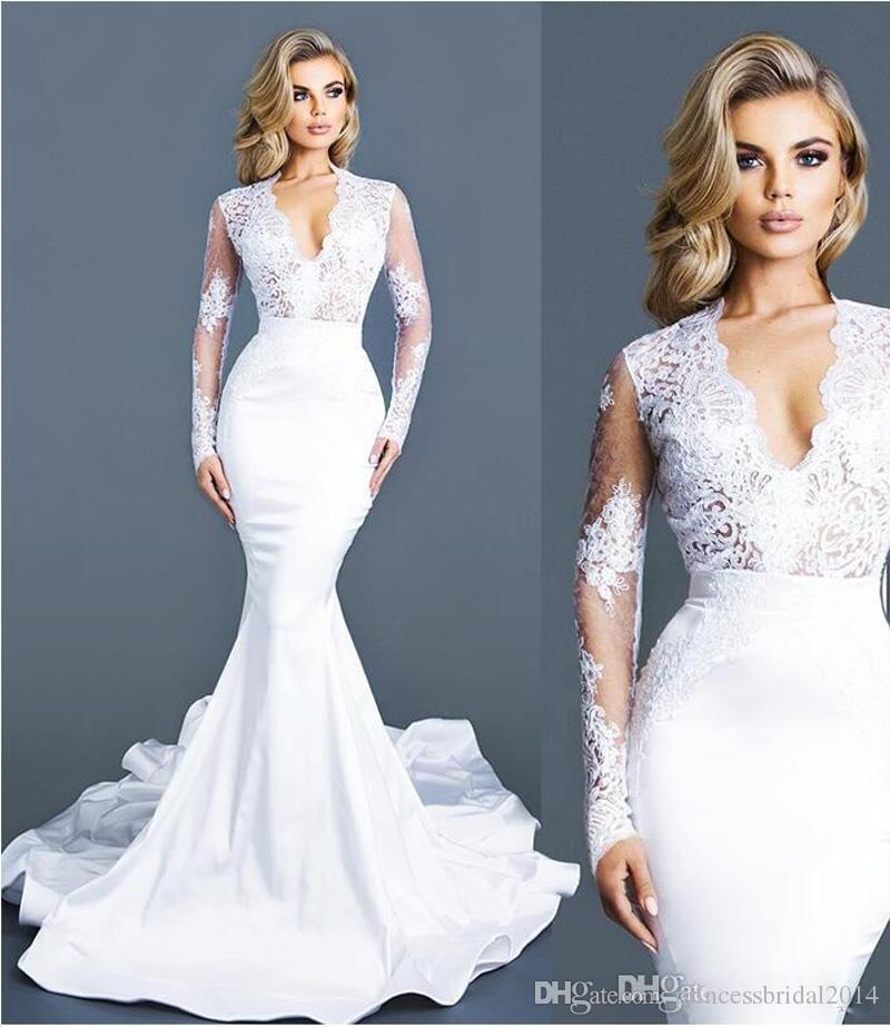 White Lace Mermaid Gown: White Modest Wedding Dresses Long Sleeves Lace Deep V Neck