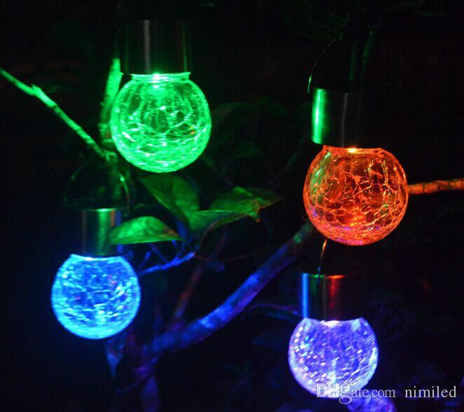 Güneş asılı ışıklar 7 Renk Değiştirme Beyaz Set LED Crackle Cam Asılı Işıklar Ücretsiz kargo LLFA