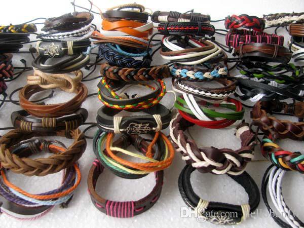 Gros style mixte manchette surfeur ethnique tribal cuir bracelets cadeau de mode
