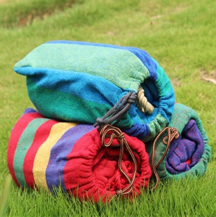 Venta caliente 200 * 100 cm portátil exterior jardín hamaca colgar de la cama de viaje Camping Swing lienzo raya envío gratis