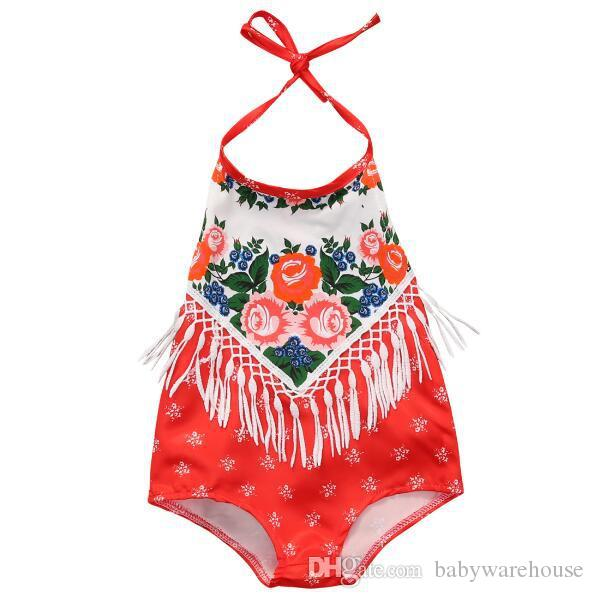 a10a922258db 2019 Newborn Infant Romper Baby Girl Red Tassel Floral Romper Summer  Backless Princess Toddler Kids Jumpsuit Outfit Sunsuit Cute Kids Clothes  From ...
