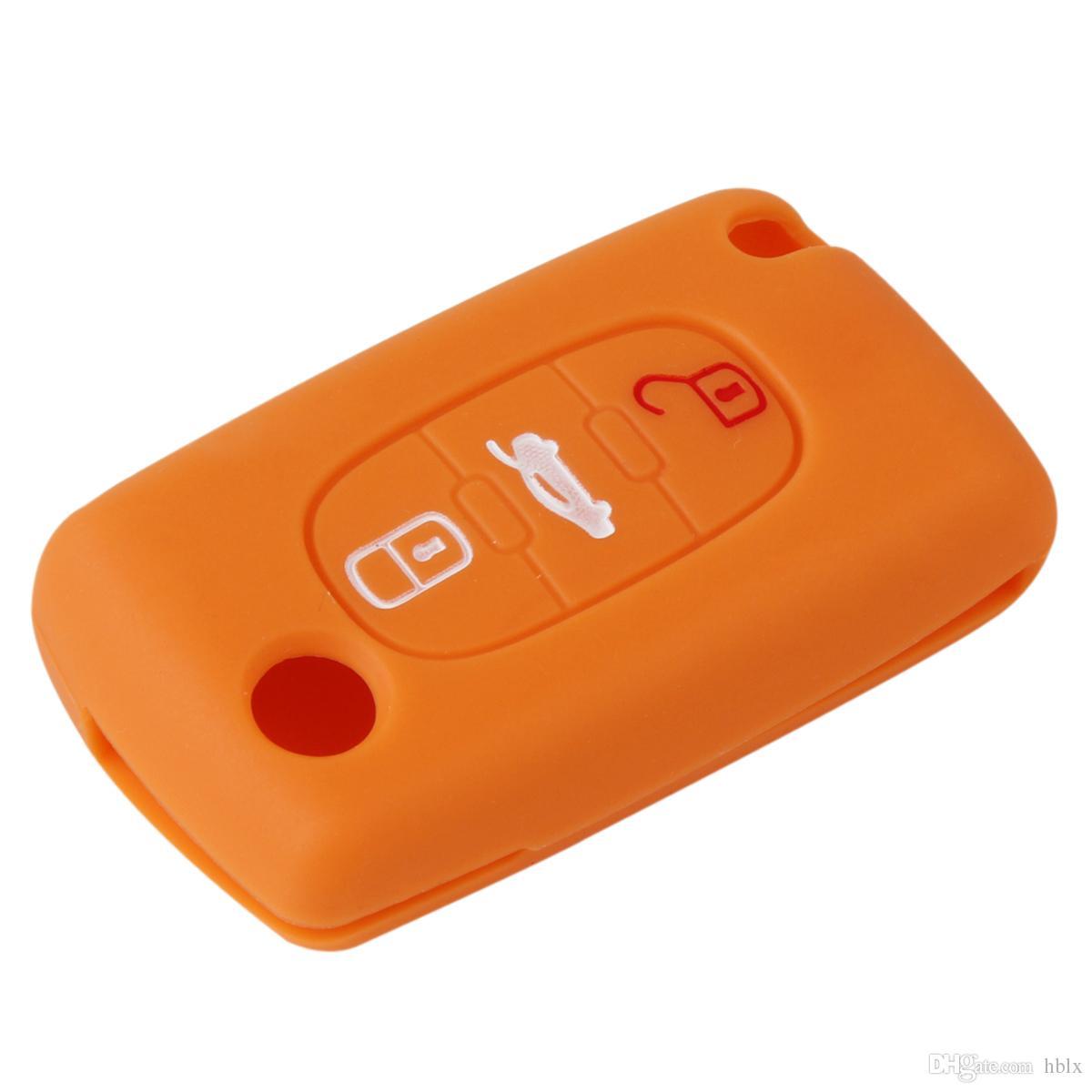 Fernbedienung 3 Tasten Schlüsselanhänger Hülle Silikon Cover fit für Citroen C2 C3 C4 C5 C6 Picasso AUP_40H