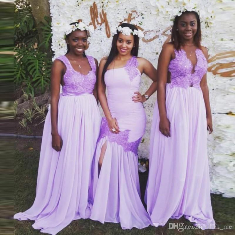 Lilac Three Style Nigeria Long Bridesmaid Dresses With Lace Applique ...