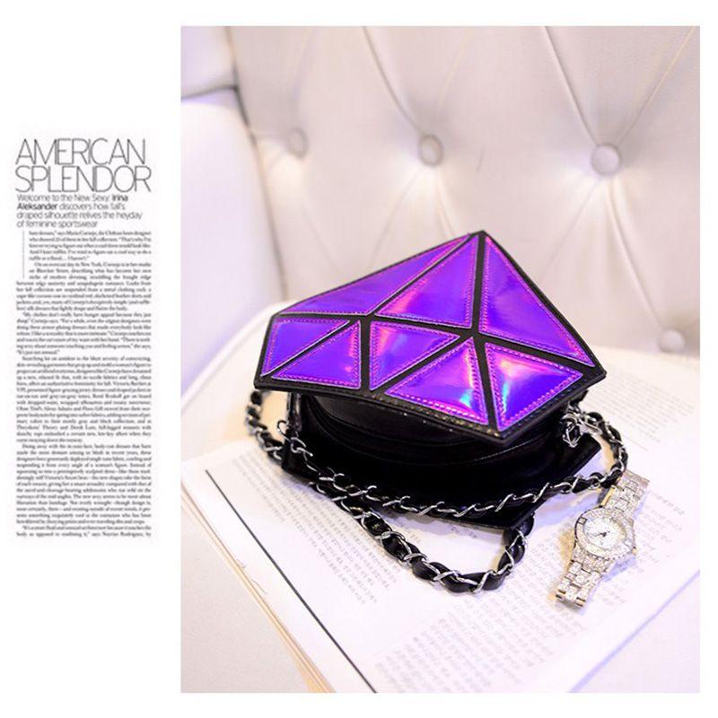 Fashion Handbags Charming Nice Women Hologram Diamond Shape Laser Holographic Crossbody Chain Messenger Bags Cute Cosmetic Bags 3007010