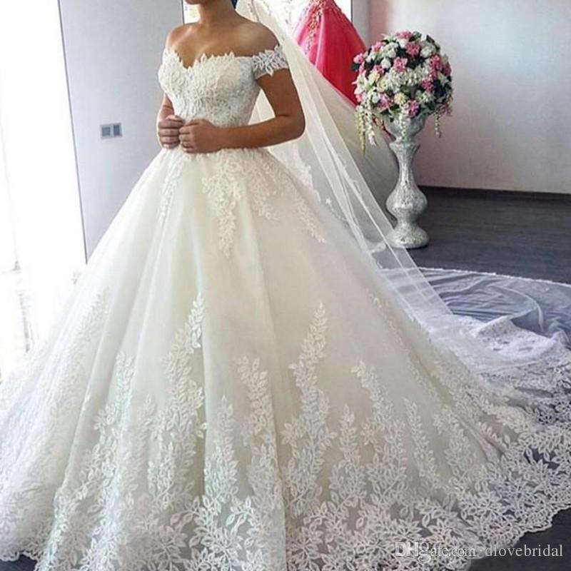 Luxury Vintage Lace Applique Cathedral Train A Line Wedding Dresses ...