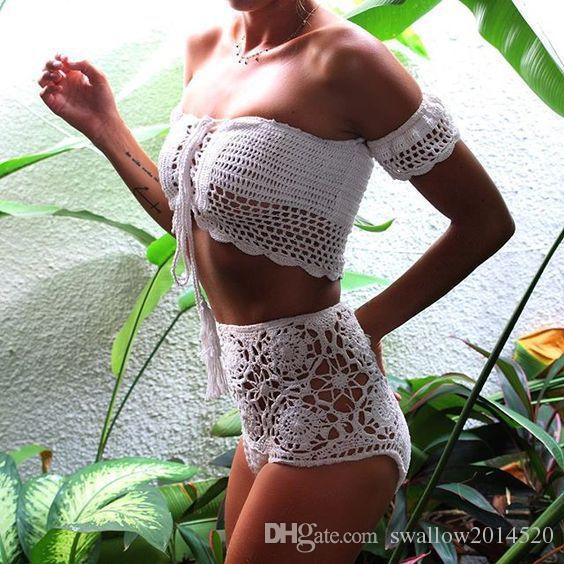 Sexy Knitted Crochet White Crop Tops Bikini Set Beachwear 90's Girls Casual Lace Up Off Shoulder Bikini Bra Tank Top Cropped Suit
