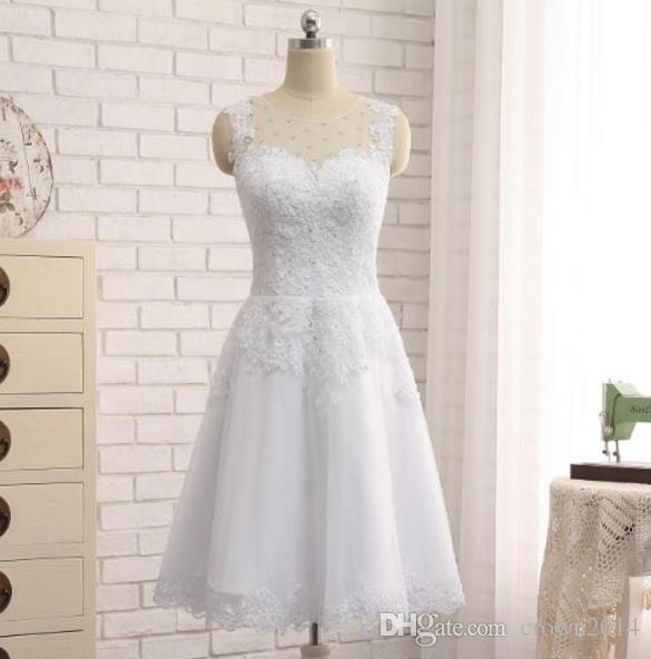Elegant Short Wedding Dress Knee Length 2019 Tank Bridal Gowns Beaded Lace Applique Tulle Sheer Neck Beach Bridal Gowns Real Photo Cheap