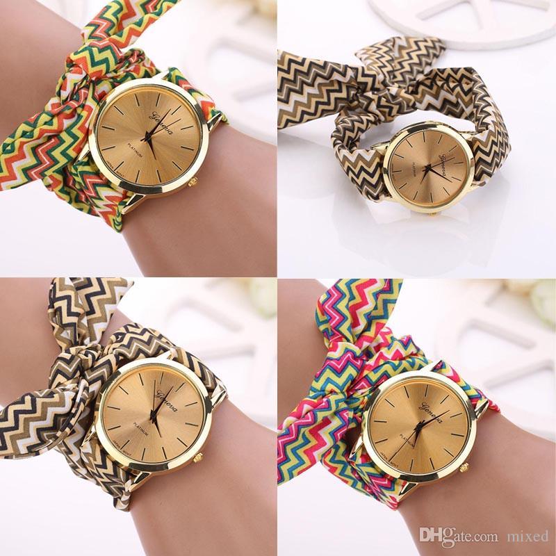 Дизайн Дамы Ткань Наручные Часы Модные Женские Часы Платье Высокого Качества Ткань Часы Сладкий Девочек Браслет часы Часы