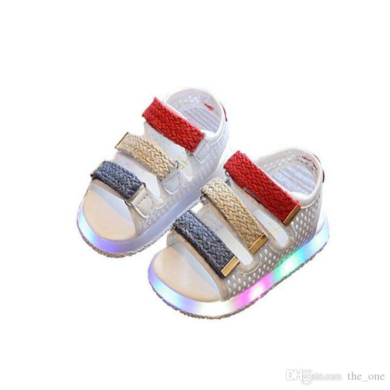 d8f84f9c28c3 2017 Summer Led Light Shoes Children Sandals Boys Girls Hook Loop Lighted Sandals  Kids Baby Luminous Beach Shoes Childrens Footwear Boots For Kids On Sale ...