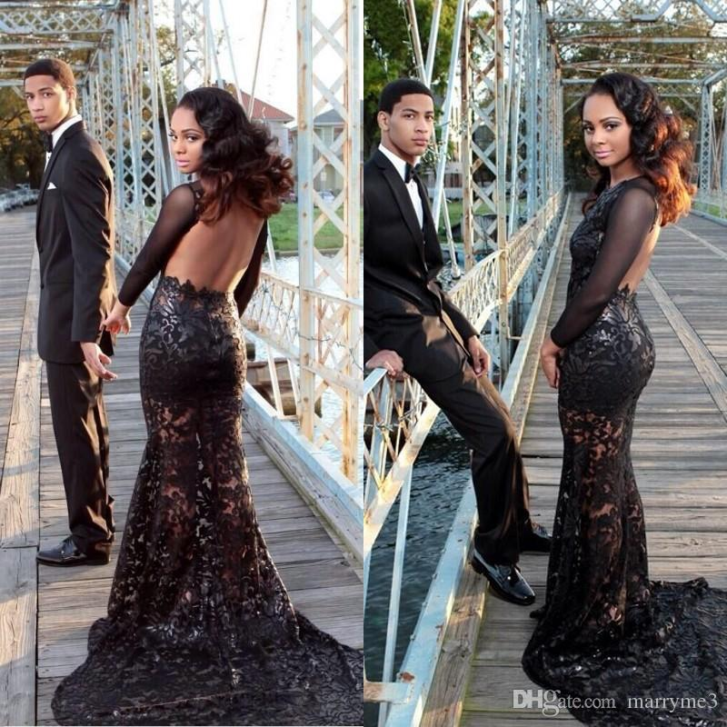 Black Mermaid Prom Dress Long Sleeve All Over 2017 Sexy Backless