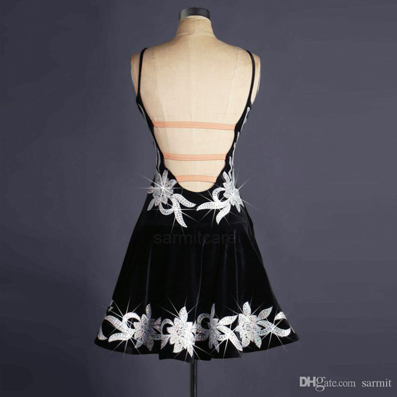 Terciopelo Samba Latina Vestido de baile de las mujeres Vestido de baile Competencia Vestidos Salsa Tango Salón D0233 Correa Hombro Piedras de imitación Apliques Sin respaldo