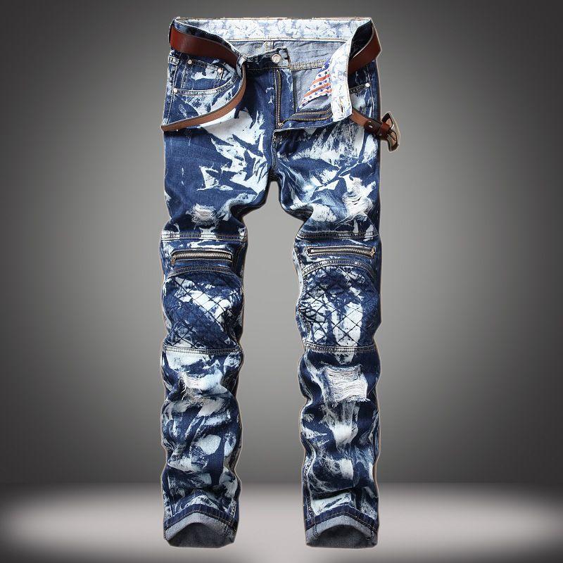 5bf50e09 2019 2017 Paint Mens Skinny Biker Jeans Men Motorcycle Runway Zipper Slim  Fit Washed Snowflakes Moto Denim Pants Ripped Plus Jeans From  Sunshineavenue36518, ...