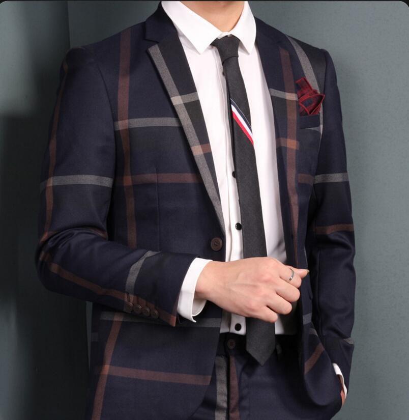 Traje azul marino Traje de dos piezas Textura de tela escocesa Tejido de alta calidad Trajes de boda Trajes formales para hombres Traje completo Prom Esmoquin al por mayor 005