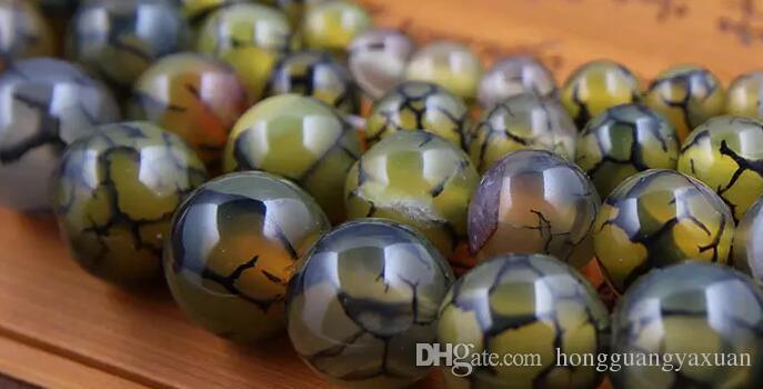 Granos de piedra natural Dragón amarillo patrón ágata estallido flor cristal DIY Para la fabricación de joyas 8 10 mm directo de fábrica