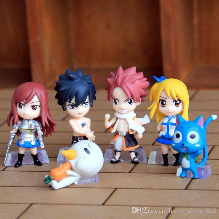 set Anime Fairy Tail Natsu Happy Lucy Gray Erza Plue Doll Action Figure Figurine Play Set Toy Cake Topper Kids Gift