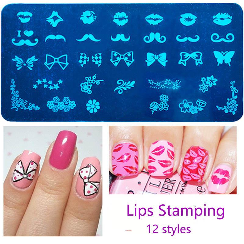 New 12*6cm Rectangle Stamping Plate Bow Mask Horse Pattern Nail Art ...