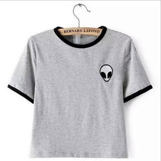Compre Venta Al Por Mayor De Alien T Shirt Mujeres Lindo Crop Top Camiseta  Femme Poleras De Mujer Tops Recortadas Para Mujeres Algodón Bordado  Camisetas A ... 8415fa1d0d569