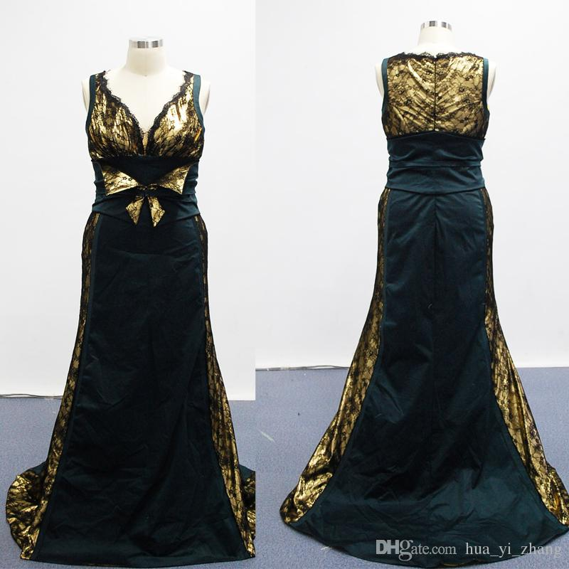 2016 ECHTE Beelden Gouden en Zwarte Avondjurken V-hals Kant met Bowk Design Prom-jurken