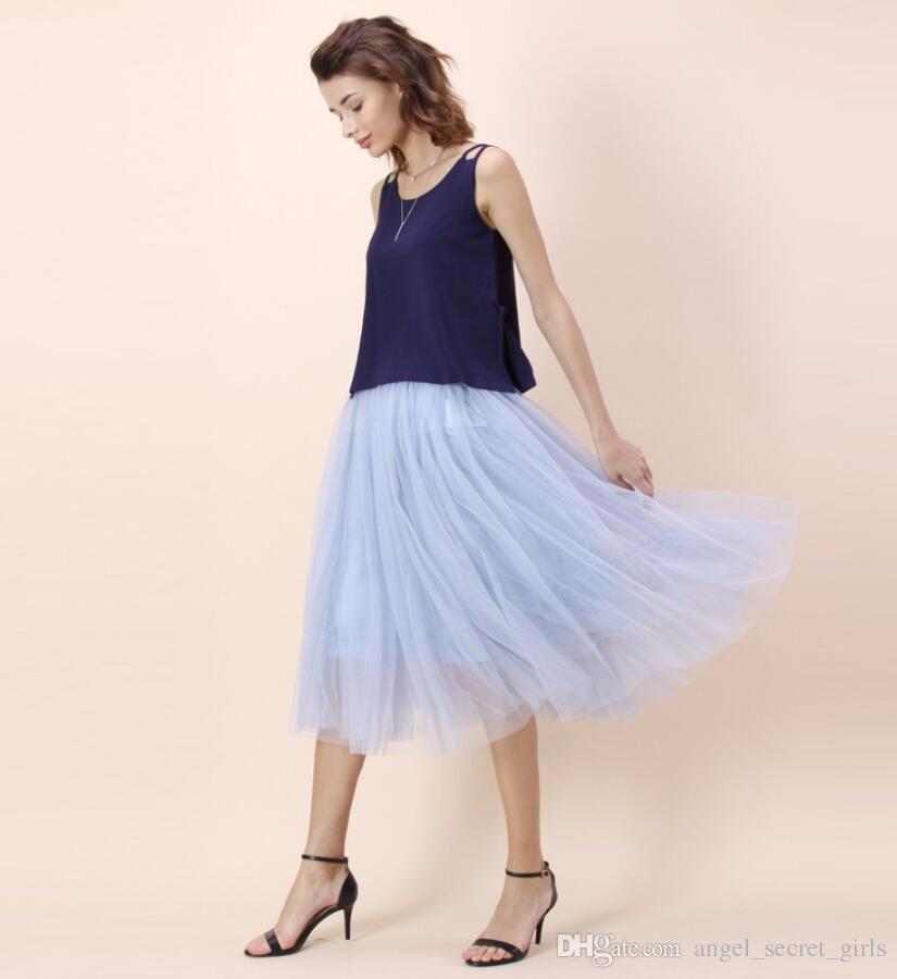 femme Tulle Midi Jupe haute qualité Longueur Mode Femmes Jupes Printemps Eté Style Custom Made Taille Et Colorc
