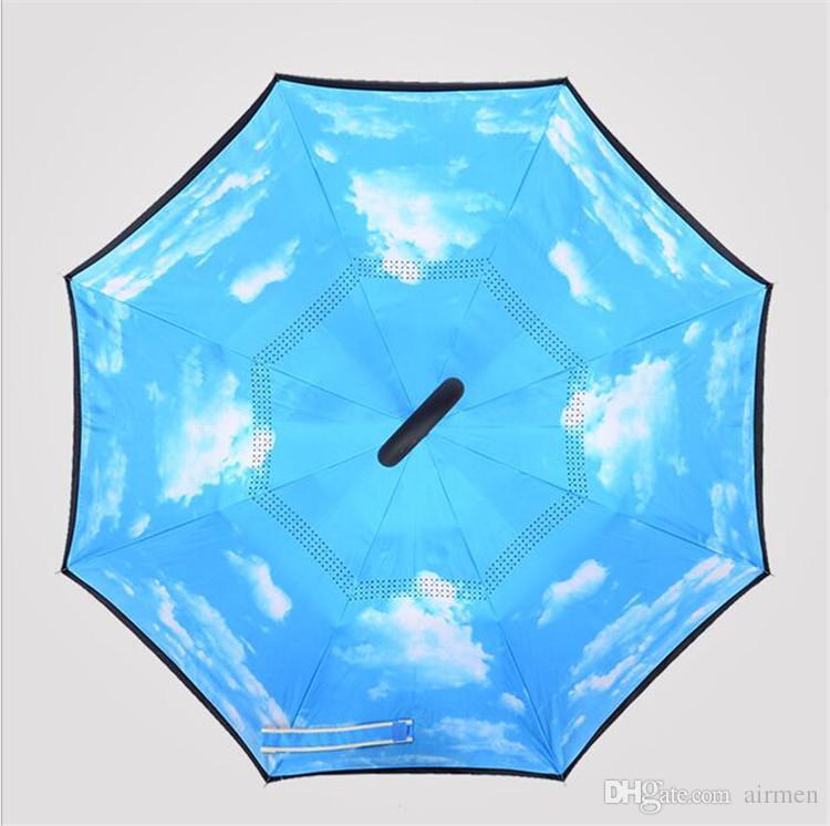 عالية الجودة صامد للريح عكس طبقة مزدوجة قابلة للطي مقلوب Chuva مظلة الوقوف في الداخل خارج حماية المطر أيدي C- هوك