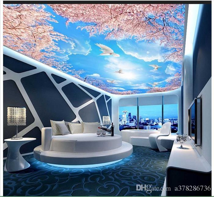 High Quality Custom 3d ceiling wallpaper murals Blue sky and white cherry trees 3D zenith mural ceiling frescoes wall