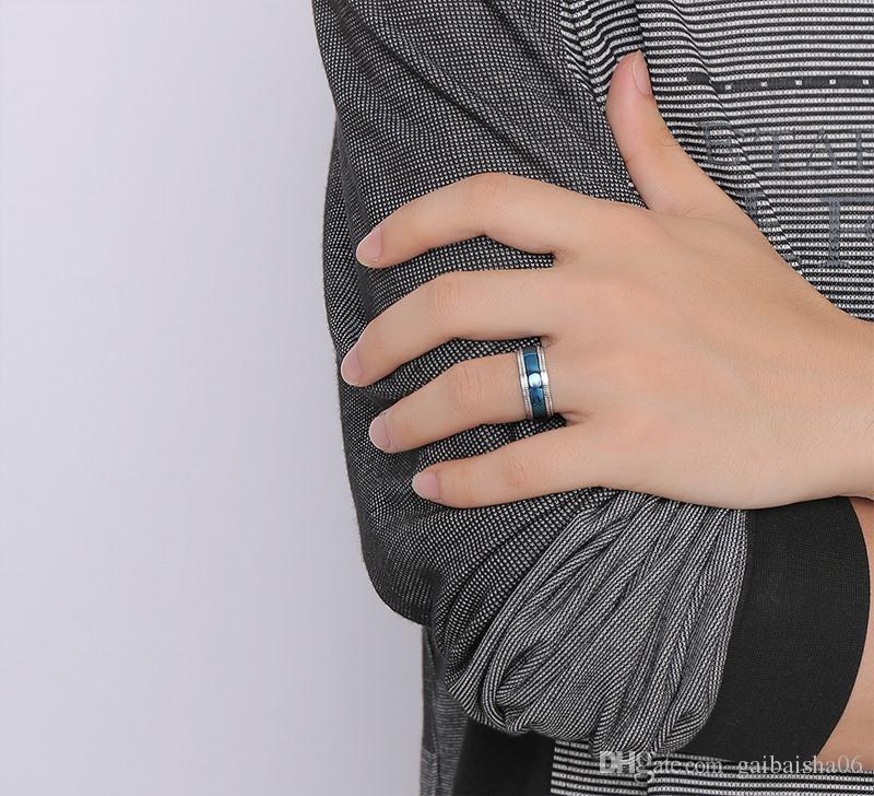 MEAGUET Marke blaue Männer Ringe Edelstahl Silber überzogene Ehering für Männer Großhandel Hohe Qualität R-181