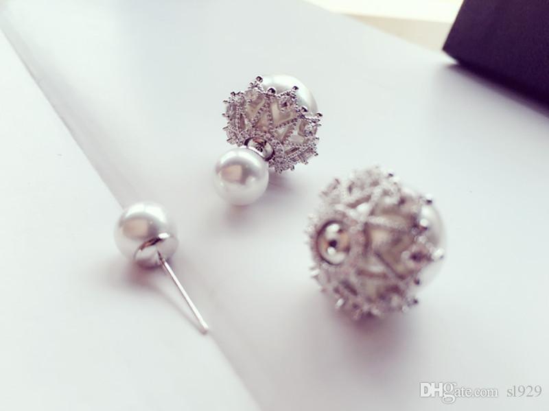 Alta Calidad de Doble Cara Perla Stud Pendientes de Lujo Circón Cristal Flor Grande Simulado Perla Ear Studs Pendientes Para Las Mujeres 925 Aguja de Plata
