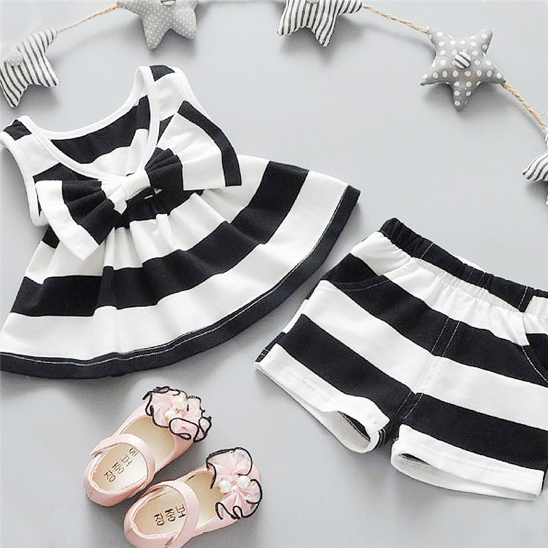 Wholesale- Nice kids designer brand kids Toddler Kids Baby Girls Summer Outfits Clothes Dress+Short 2PCS Set ropa de ninas