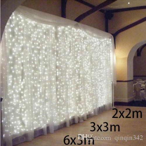 Elektrische Weihnachtsbeleuchtung Garten.3x3 6x3m 300 Led Eiszapfen Lichterkette Führte Weihnachten Weihnachtsbeleuchtung Lichterketten Outdoor Home Für Hochzeit Party Vorhang