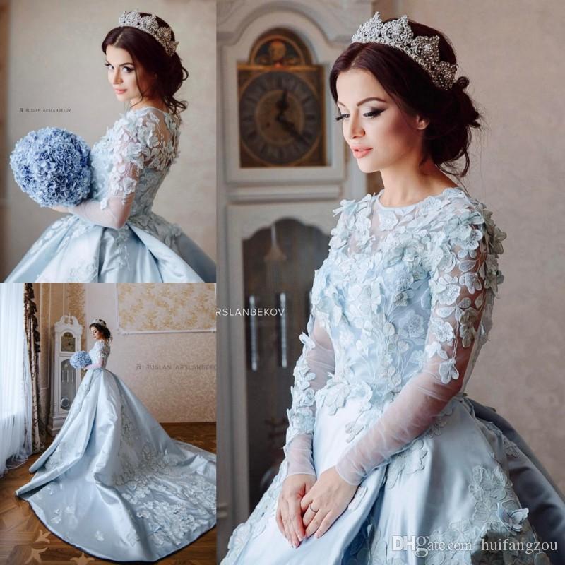 c932a796 Arbric 2019 Blue Wedding Dresses Sheer Neck 3D Floral Appliques Wedding  Gowns Long Sleeve Sweep Length Bridal Ball Gown Wedding Dress Style Wedding  Dress ...