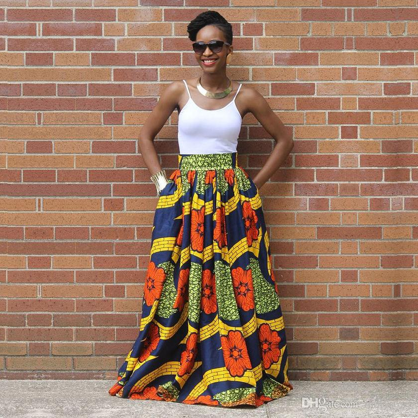 Elegant Long African Print Skirt Vintage Ethnic High Waist Maxi Skirts Jupe  Longue Femme Long African Print Skirt High Waist Maxi Skirts African Skirt  ...