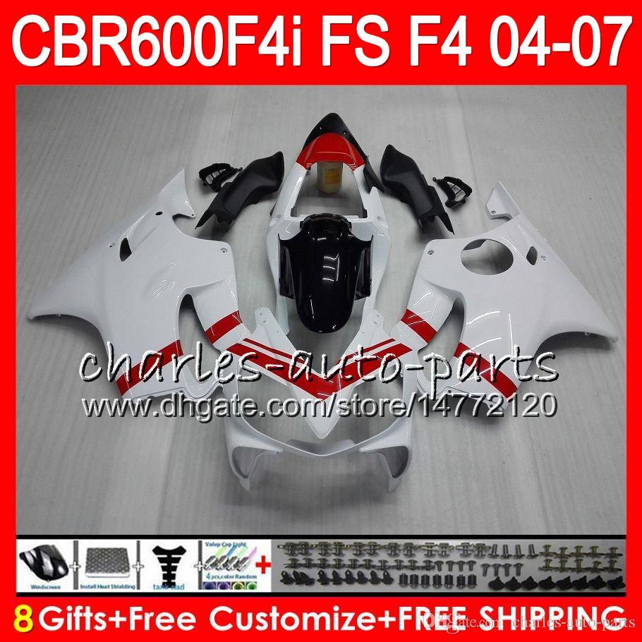 8Gifts pour HONDA CBR600FS FS CBR600F4i 04 05 06 07 AAHM23 F4i rouge blanc CBR600 CBR 600F4i CBR 600 F4i 2004 2005 2006 2007 Carénage