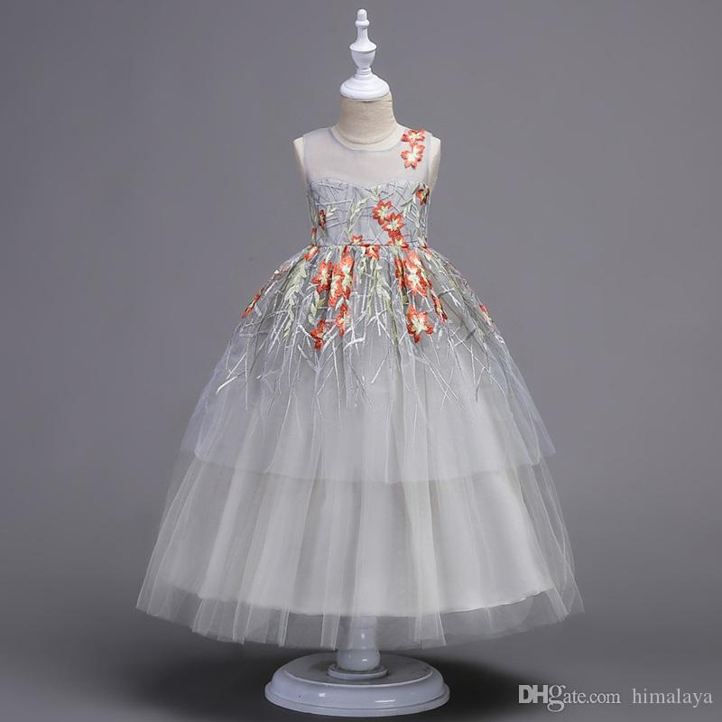 17f3001c0 2017 Childrens Long Evening Princess Dresses Kids Party Clothes Baby ...