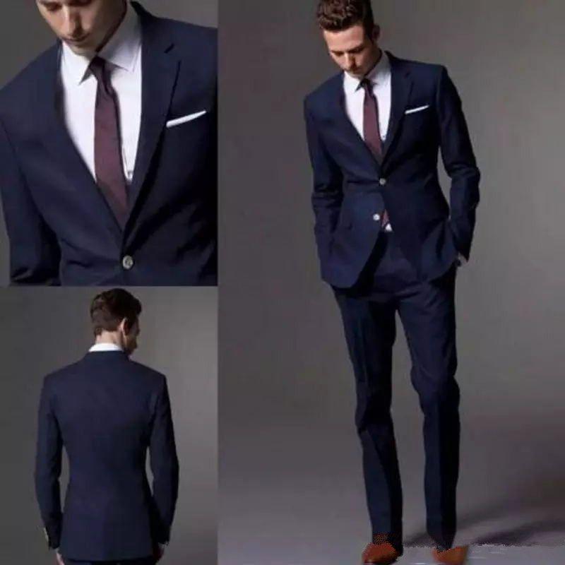 794dc267d6ce82 Custom Made Dark Navy Blue Men Suit 2017 Fashion Groom Suit Wedding Suits  For Men Slim Fit Groom Tuxedos For Best Man(Jacket+Pants)