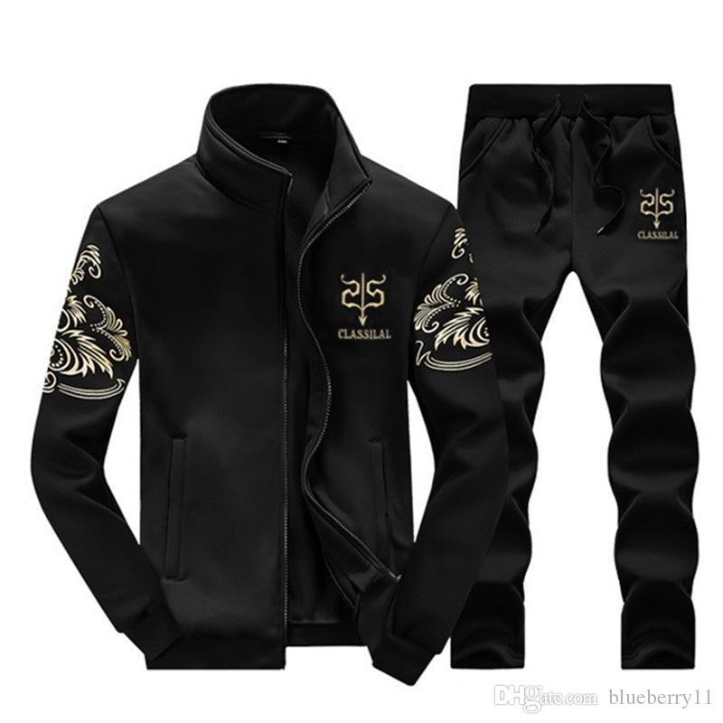 c955a15bb49 Acheter Survêtements Hommes Loisirs Sport Costume Noir Hiver Hommes  Vêtements De Sport Marque Hoodies Hip Hop Jogger Ensemble Cool Sweat  Sudaderas Hombre M ...
