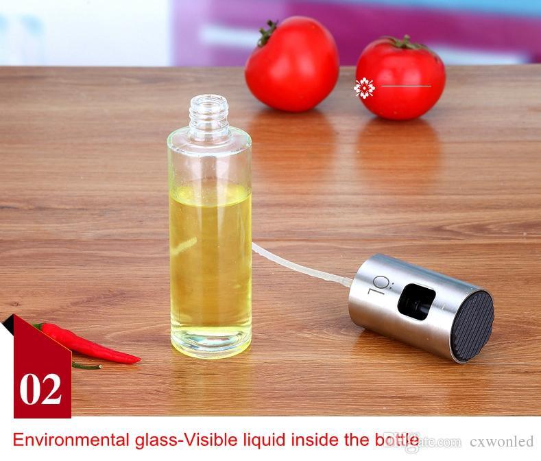 100ml pulverizador de óleo de vidro azeitona bomba de prata pulverizador de aço inoxidável de aço inoxidável pode jarrafar ferramenta de potenciômetro