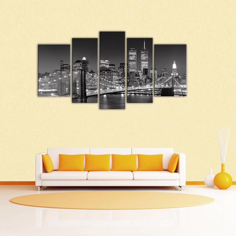 2018 5 Panels Landscape Paintings Wall Art Black And White New York ...
