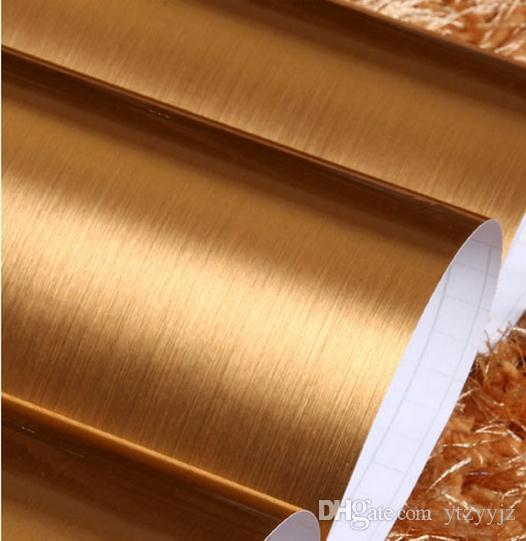 Wholesale decor metallic gold brushed self adhesive for Gold self adhesive wallpaper