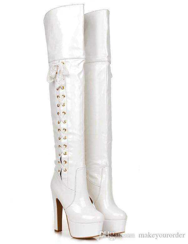 2017 patent leather new style pole dancing Boots high heel pole dancing Thigh-High Fabric Boots Fashion Boots 292
