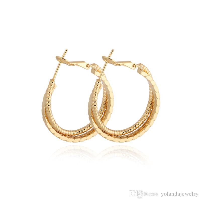 7b7a1b81ca9e2 Europe and America Hotsale 18K Yellow /Rose/White Gold Plated Multi-Layers  Earrings for Girls Women for Party Wedding