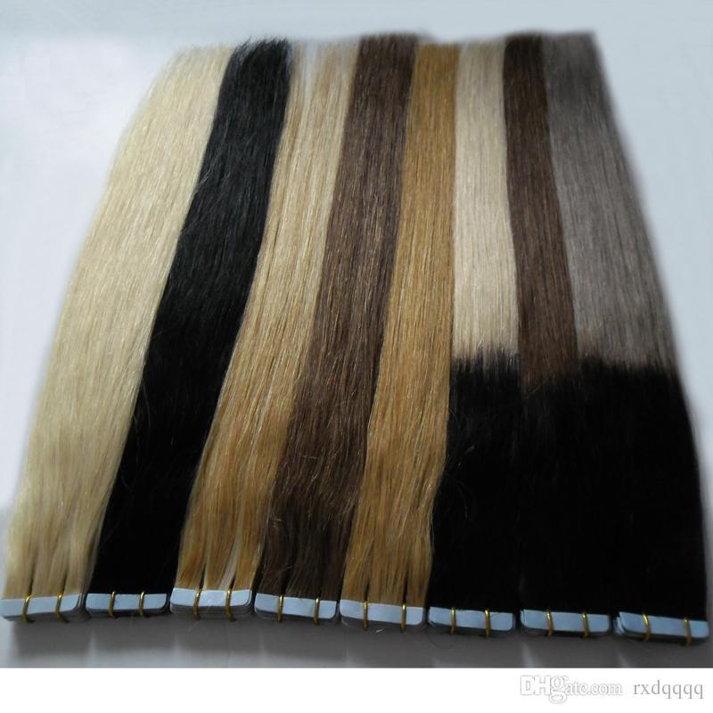 # 27 # 1 # 60 # 1b / cinza # 1b / 8 # 1b / Fita Em Extensões Do Cabelo Humano 40 peças Cabelo brasileiro Loiro Natural Ombre Reta Virgem Remy Cabelo 100g